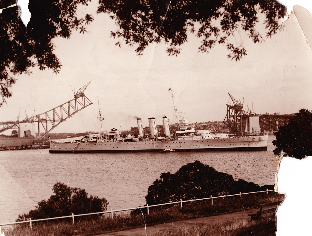 Sydney Harbour Bridge and HMAS Sydney circa 1928