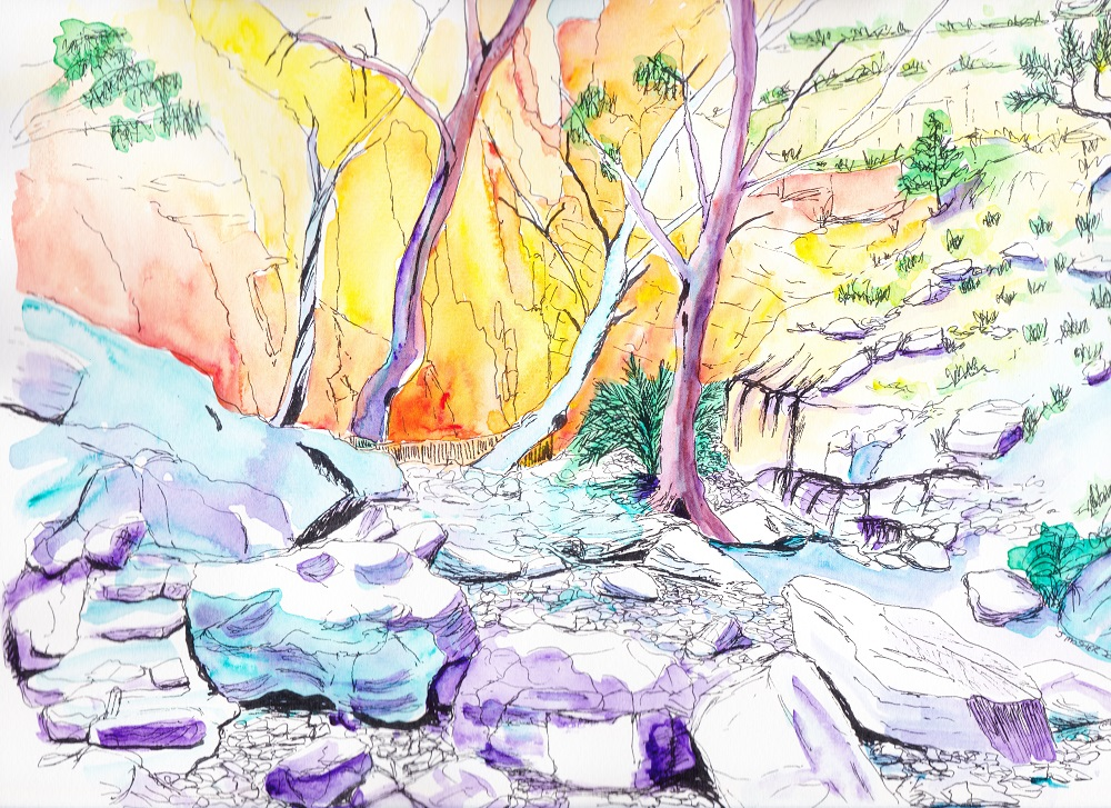 Central Australia, ink and watercolour