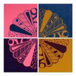 Paisley Petals four-piece artwork by Jennifer Mosher
