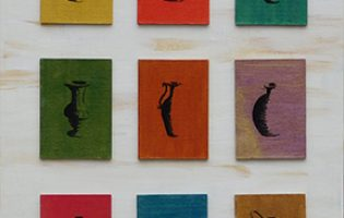 Big Urns and Li'l Urns – acrylic and ink on artists' trading cards (c) Jennifer Mosher