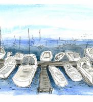 Marina, San Francisco – watercolour and ink on paper (c) Jennifer Mosher