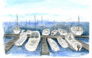 Marina, San Francisco – watercolour and ink on paper (c) Jennifer Mosher