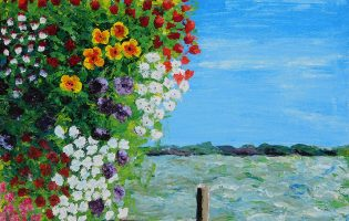 Sausalito Flowers – acrylic on stretched canvas (c) Jennifer Mosher