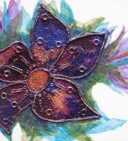 Trinket Flower – mixed media on stretched canvas (c) Jennifer Mosher