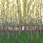 Birch Grove acrylic on paper by Jennifer Mosher