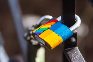 LGBT love lock on streets of Kyiv, Ukraine