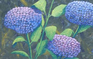 Hydrangeas – acrylic on stretched canvas (c) Jennifer Mosher (Sold)