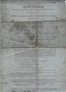 Arthur McArdle WW1 enlistment page 1