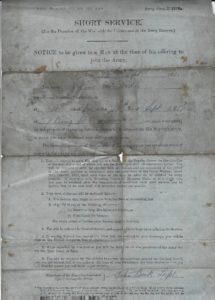 Arthur McArdle WW1 enlistment page 1