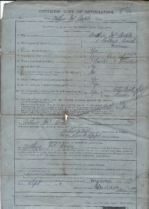 Arthur McArdle WW1 enlistment page 2
