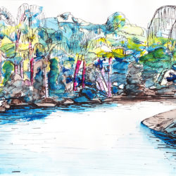 Amazon River - watercolour and ink (c) Jennifer Mosher