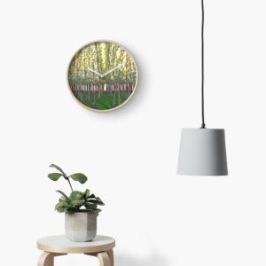 Birch Grove - Redbubble clock on wall