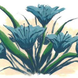 Blue Lily Day - acrylic on paper (c) Jennifer Mosher