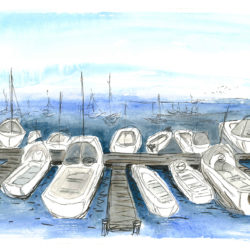 Marina, San Francisco - watercolour and ink (c) Jennifer Mosher