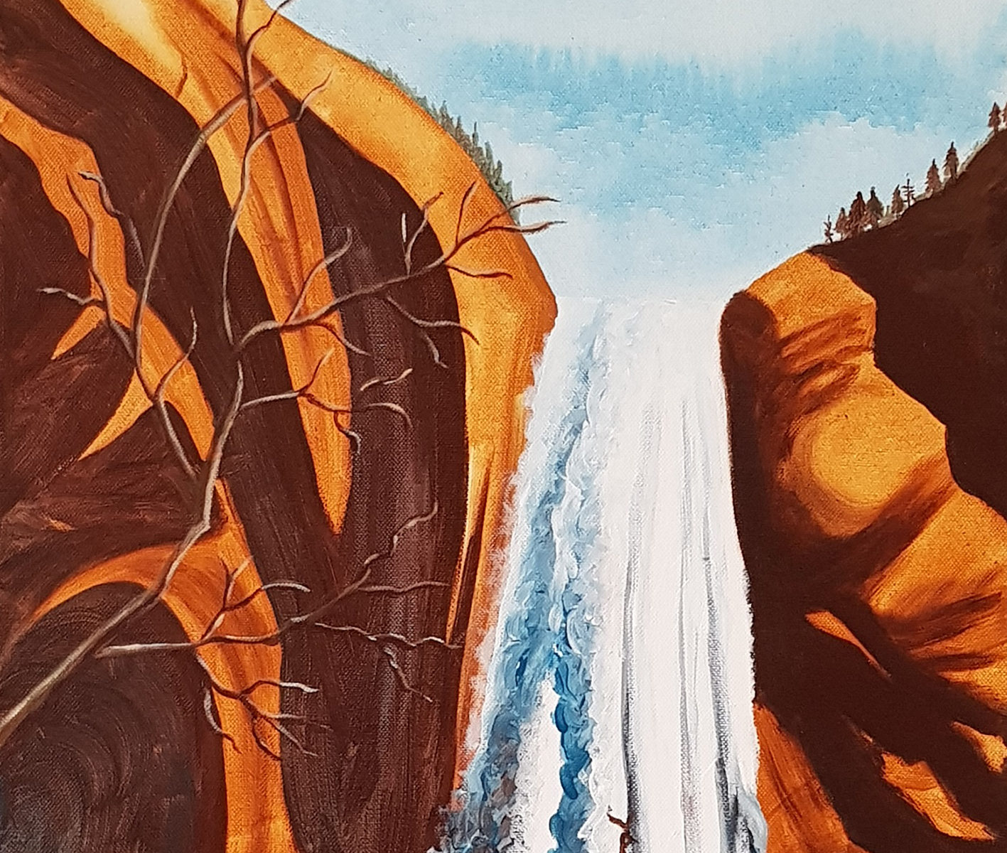 Red Rock Waterfall - acrylic on stretched canvas (c) Jennifer Mosher