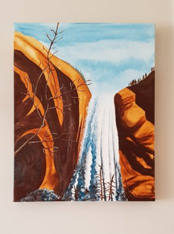 Red Rock Waterfall on wall - acrylic on stretched canvas (c) Jennifer Mosher
