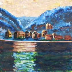 Between Boppard and St Goar - acrylic on canvas (c) Jennifer Mosher