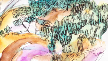 Central Australia I - watercolour - crop 1 (c) Jennifer Mosher