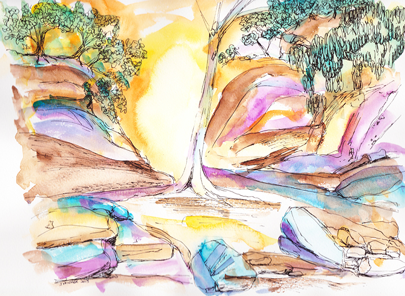 Central Australia I - watercolour (c) Jennifer Mosher
