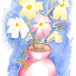 Cosmos Flowers - watercolour (c) Jennifer Mosher