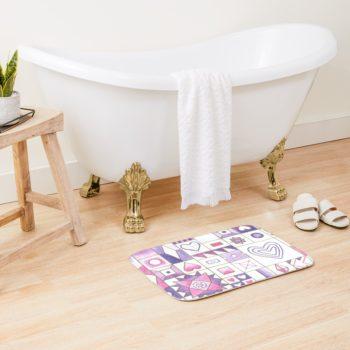 Hearts and Diamonds Sampler - Redbubble Bath Mat