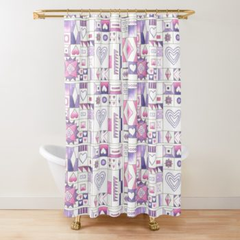 Hearts and Diamonds Sampler - Redbubble Shower Curtain