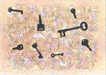 Keys - watercolour and ink (c) Jennifer Mosher