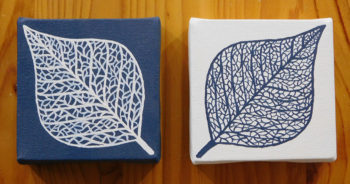 Lace Leaves - blue and white pair