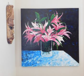 Lilies - acrylic on stretched canvas on the wall
