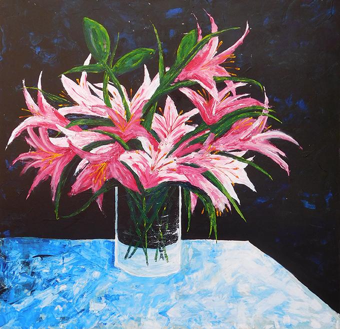 Lilies - acrylic on canvas (c) Jennifer Mosher
