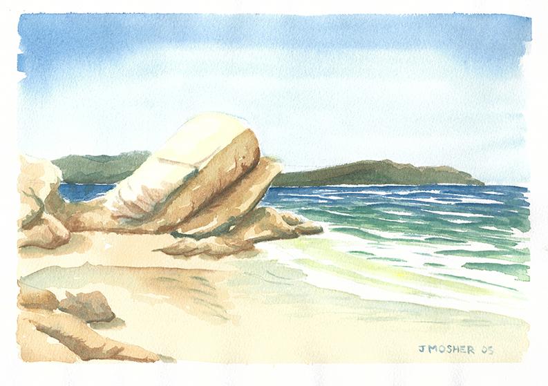 On the Beach - watercolour (c) Jennifer Mosher