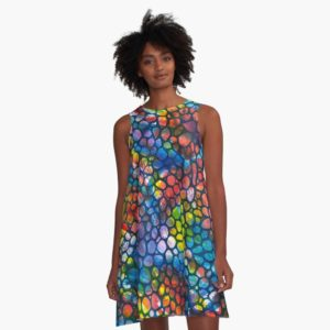 Opals - Dark - Redbubble A-line Dress