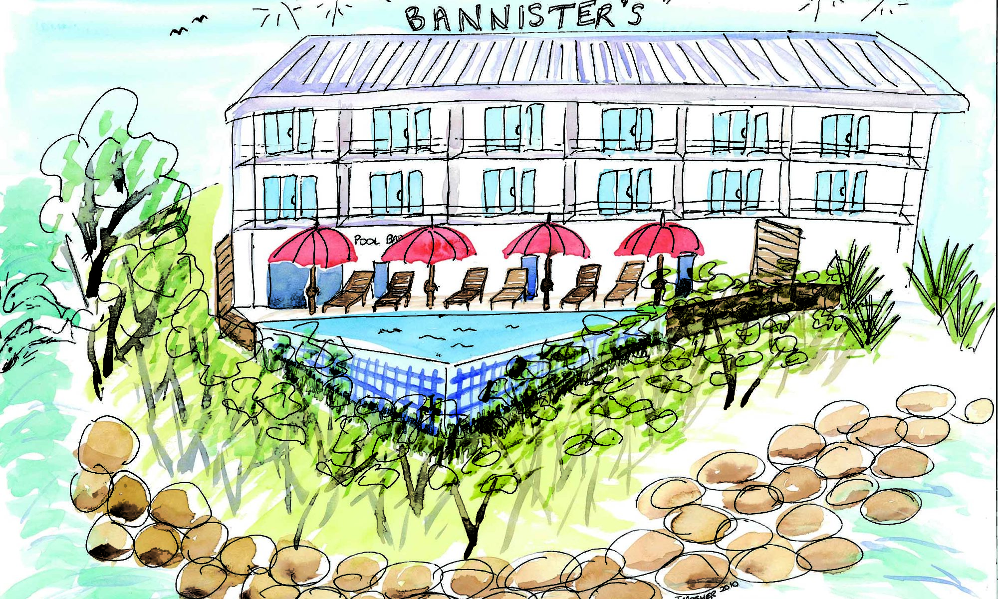 Bannisters Mollymook - watercolour (c) Jennifer Mosher