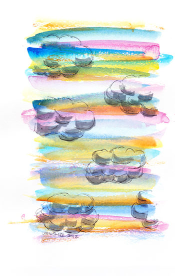 Rainbow Clouds - watercolour and ink (c) Jennifer Mosher