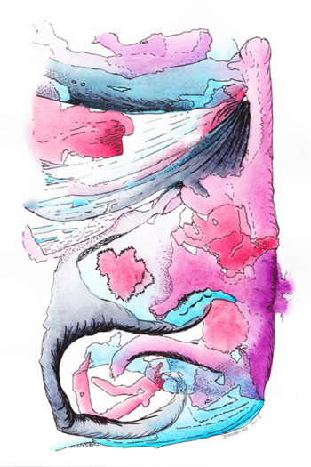 What Lies Beneath - watercolour (c) Jennifer Mosher