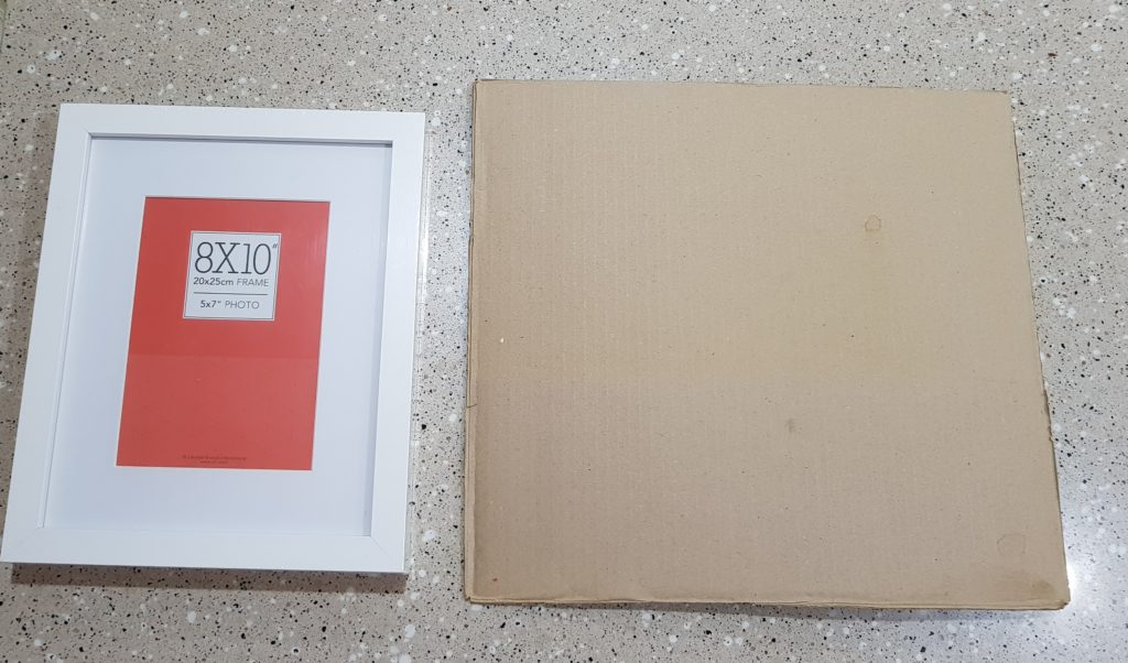 Find and prepare your 'canvas' - I cut my card to fit a frame a wanted to use