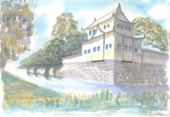 Nijo-jo Castle, Kyoto - watercolour (c) Jennifer Mosher