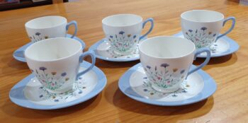 Copeland Spode Wayside tea cups and saucers - side view