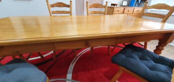 Dining table - inbuilt drawer - side view