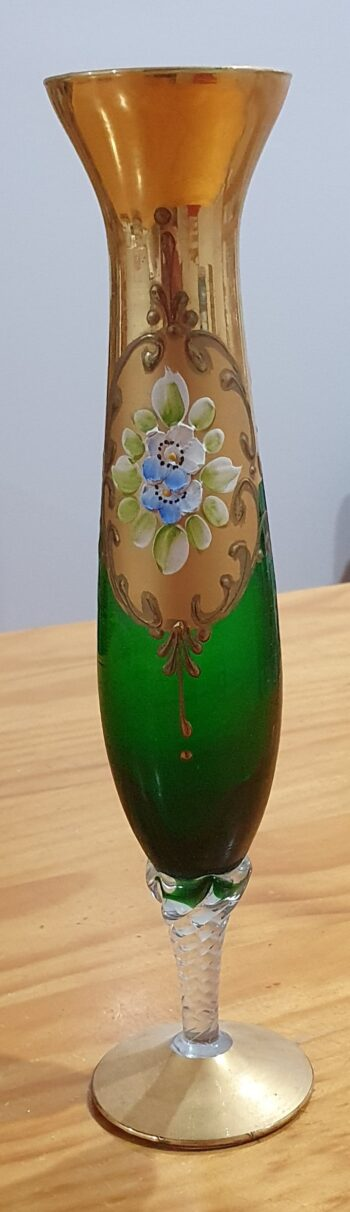 Murano vase green and gold - front
