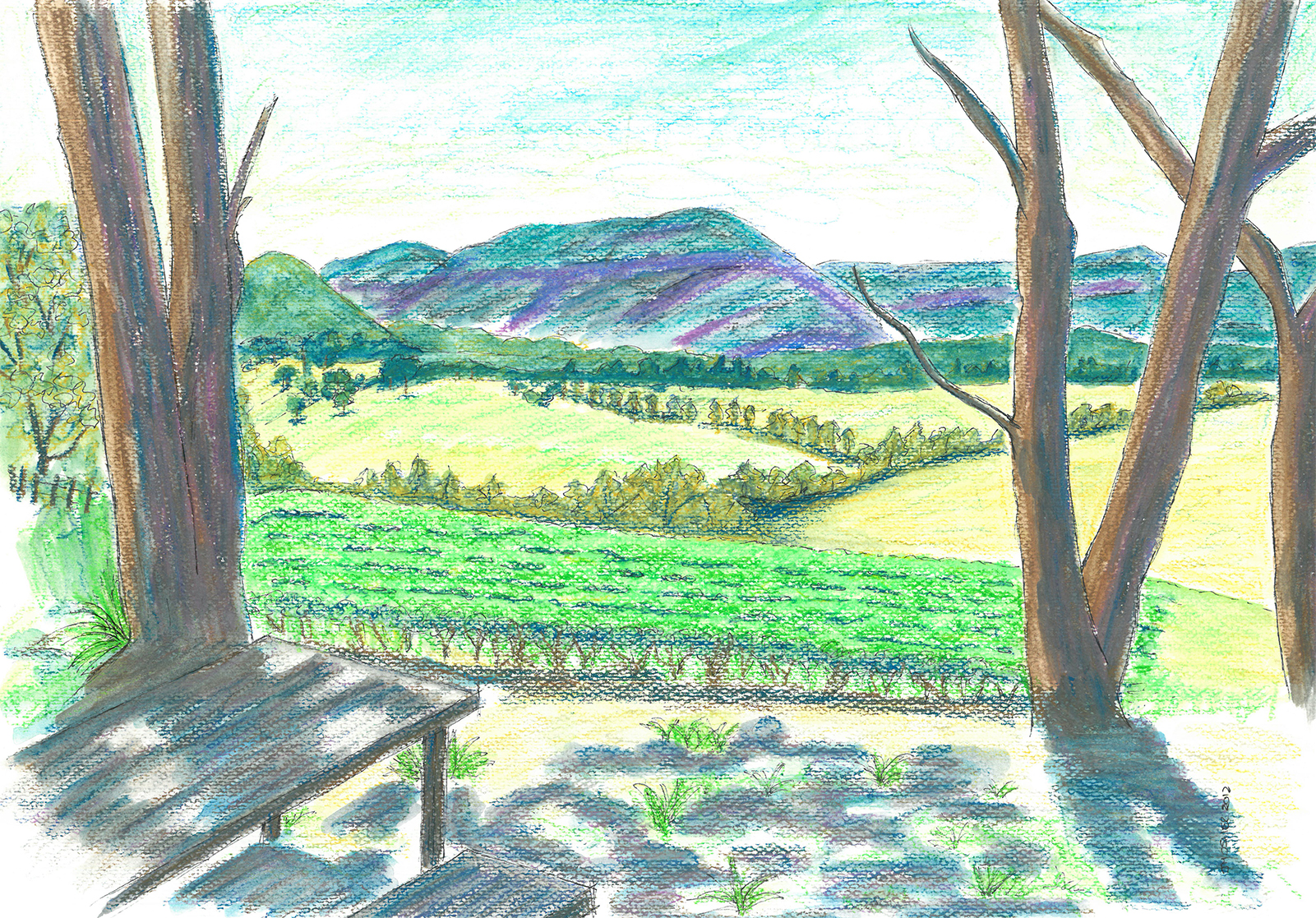 Dry Ridge Estate and Megalong Valley - watercolour (c) Jennifer Mosher